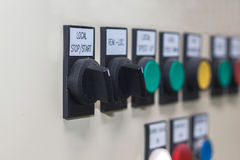 Technical display on control panel with electrical equipment dev Royalty Free Stock Photography