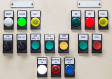 Technical display on control panel with electrical equipment dev Stock Photo