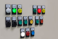 Technical display on control panel with electrical equipment dev Stock Photos