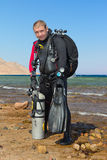 Technical Diver. After dive. Dahab, Red sea Royalty Free Stock Images