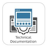 Technical Documentation Icon. Gear and Web Pages. Development Symbol. Stock Image