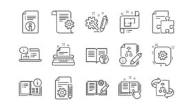Technical documentation line icons. Instruction, Plan and Manual. Linear icon set. Vector. Technical documentation line icons. Instruction, Plan and Manual stock illustration