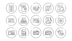 Technical documentation line icons. Instruction, Plan and Manual. Linear icon set. Vector. Technical documentation line icons. Instruction, Plan and Manual royalty free illustration