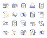 Technical Documentation line icons. Set of Instruction, Plan and Manual. Vector. Technical document line icons. Set of Instruction, Plan and Manual icons. Help stock illustration
