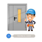 Technical Door and Worker. Technical Door with Cartoon Worker. In the EPS file, each element is grouped separately. Clipping paths included Royalty Free Stock Image
