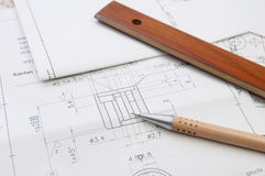 Technical drawing. With pencil and ruler Royalty Free Stock Photo