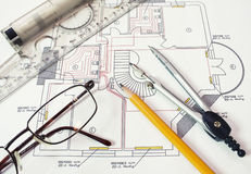 Technical drawing. Picture of technical engineer drawing Stock Photos
