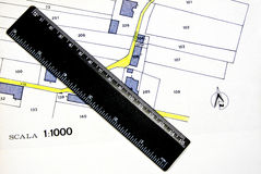 Technical drawing. With black ruler Royalty Free Stock Photos