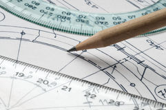 Technical drawing. Close up with pencil and graphic's tools Stock Photos