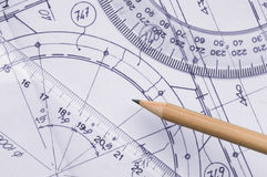 Technical drawing. Close up with pencil and graphic's tools Royalty Free Stock Images