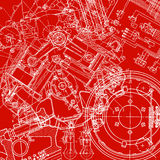 Technical drawing. Or blueprint on red background Stock Photography