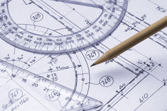 Technical drawing. Close up with pencil and graphic's tools Royalty Free Stock Image