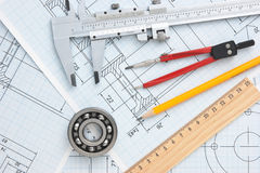 Technical drawing. And a tools royalty free stock images