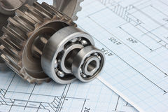 Technical drawing. And bearing. tools stock photo