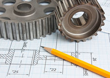 Technical drawing. And tools a royalty free stock photos