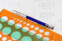 Technical drawing 2 Royalty Free Stock Image