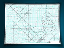 Technical drawing. On graph paper illustration Royalty Free Stock Image