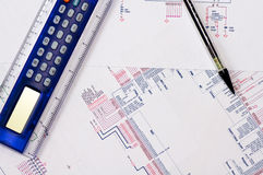 Technical Drawing. Detailed technical drawing with a lot of calculations Stock Images