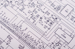 Technical Drawing. Detailed technical drawing with a lot of calculations Royalty Free Stock Photography