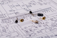 Technical Drawing. Detailed technical drawing with a lot of calculations Stock Image