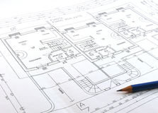 Technical drawing. A technical drawing of a construction Stock Photo