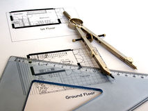Technical drawing. Technical architectural CAD drawing with square ruler and compass Stock Photography