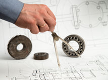 Technical drawing. Technical and architectural drawing and tools stock photos