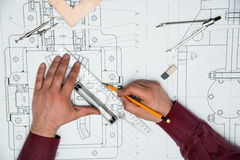 Technical drawing. Technical and architectural drawing and tools royalty free stock image