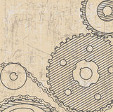 Technical drawing.background with gears.style grunge Royalty Free Stock Photo