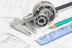 Technical drawing and bearing Stock Image