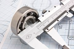 Technical drawing and bearing. Technical drawing and caliper with bearing stock photo