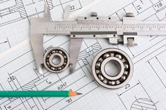 Technical drawing and bearing. Technical drawing and caliper with bearing stock image