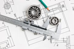 Technical drawing and bearing. Technical drawing and caliper with bearing royalty free stock image
