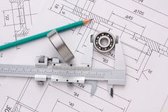 Technical drawing and bearing Royalty Free Stock Photo