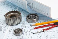 Technical drawing. Bearing and tools royalty free stock photo
