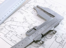 Technical drawing with caliber and ruler Royalty Free Stock Photography