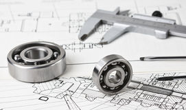 Technical drawing and calliper Royalty Free Stock Images