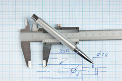 Technical drawing and callipers with  pen Royalty Free Stock Photography