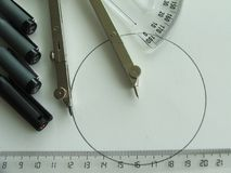 Technical drawing class. Technical drawing lesson with compass, rulers, markers and protractor Stock Photos