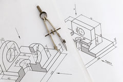 Technical drawing compass Stock Photo