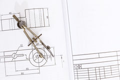 Technical drawing compass Royalty Free Stock Images