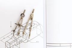 Technical drawing compass Stock Photos