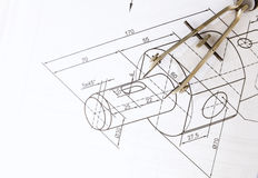 Technical drawing compass Stock Images