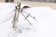 Technical drawing compass Royalty Free Stock Photos