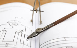 Technical drawing compass Royalty Free Stock Image