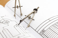 Technical drawing compass Stock Image
