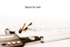 Technical drawing with copyspace Royalty Free Stock Photos