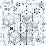 Technical drawing with dashed lines and geometric shapes, vector. Futuristic technology wallpaper, engineering draft royalty free illustration