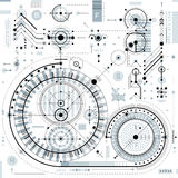 Technical drawing with dashed lines and geometric shapes, vector Royalty Free Stock Photo
