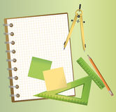 Technical Drawing Equipments. Illustration of technical drawing equipments with a blank notepad Stock Photography